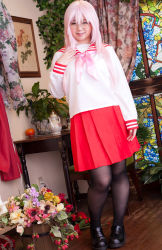 1girl asian cosplay glasses looking_at_viewer lucky_star mana pantyhose photo plump schoolgirl smile solo takara_miyuki