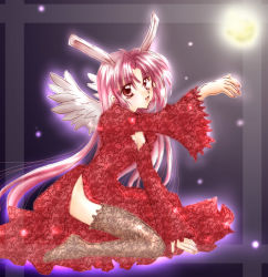 1girl alternate_costume angel_wings animal_ears ayase_miyuki bunny_ears full_moon_wo_sagashite highres meroko_yui night no_hat no_headwear outstretched_arm sitting solo wings