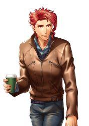 1boy casual denim drink jeans jojo_no_kimyou_na_bouken kakyouin_noriaki kotatsu_(g-rough) leather_jacket pants red_eyes red_hair solo