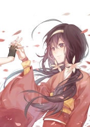 1girl absurdres black_hair bungou_stray_dogs cherry_blossoms flower gui_mi hair_flower hair_ornament highres izumi_kyouka_(bungou_stray_dogs) japanese_clothes kimono long_hair low_twintails petals solo_focus twintails