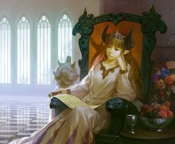 1girl :/ armchair bangs blunt_bangs bored bouquet bowl brown_hair chair checkered checkered_floor chin_rest crown demon_horns dress fantasy flower food fruit goblet grapes horns indoors long_hair long_sleeves looking_away looking_to_the_side pear pointy_ears queen red_upholstery reflective_floor scroll sheep_horns sitting solo sunlight throne tiara trefoil window yuu_kikuchi