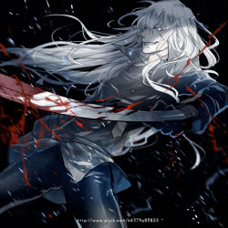 1boy black_gloves black_handwear black_outerwear blood blood_splatter gloves glow glowing_eyes grin gui katekyo_hitman_reborn! long_hair male_focus solo splatter superbi_squalo sword weapon