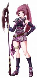 1girl armor breasts endou_masatoshi fingerless_gloves full_body gloves hand_on_hip high_heels long_hair magic:_the_gathering maroon_hair open_mouth pink_eyes polearm ponytail simple_background socks soldier_(mtg) solo standing weapon white_background
