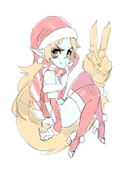 1girl absurdres blue_skin christmas elbow_gloves fang gloves hat high_heels highres imp long_hair maniacpaint midna orange_hair pointy_ears prehensile_hair red_eyes red_legwear santa_hat scarf solo striped striped_scarf the_legend_of_zelda thighhighs tubetop twilight_princess v very_long_hair yellow_sclera