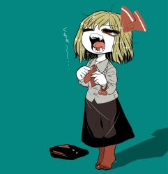 1girl ascot blonde_hair bow dressing fangs folded_clothes frilled_shirt_collar frills grey_shirt hair_bow no_shoes open_mouth red_eyes red_legwear rumia saliva see-through shiny shiny_hair shirt short_hair simple_background socks solo sparkle teal_background teeth thighs touhou vest_removed waking_up yawning yellow_pupils yt_(wai-tei)