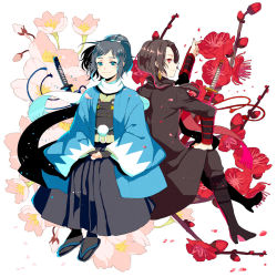 2boys back-to-back black_hair blue_eyes boots brown_hair cherry_blossoms earrings flower hakama hand_on_own_knee haori high_heel_boots high_heels houhou_(black_lack) japanese_clothes jewelry kashuu_kiyomitsu male_focus mole mole_under_eye multiple_boys nail_polish petals ponytail red_eyes red_nails sandals scarf shinsengumi sitting smile tabi touken_ranbu yamato-no-kami_yasusada