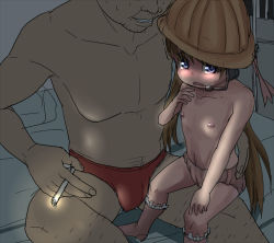 1boy 1girl age_difference cigarette flat_chest hat loli nipples owata sitting_on_lap speedo toddlercon topless tsukuyomi_ai underwear vocaloid