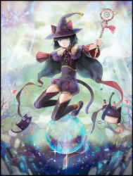 :< androgynous animal_ears bangs bare_shoulders black_legwear blue_eyes blunt_bangs cape cat cat_ears collarbone eyes_closed falling full_body hat holding holding_weapon kuroi kuroinyan looking_at_viewer multicolored_eyes outstretched_arms pixiv_fantasia pixiv_fantasia_fallen_kings pixiv_fantasia_new_world red_legwear ribbon shiny shiny_hair short_hair sparkle tail thighhighs wand weapon wide_sleeves witch_hat