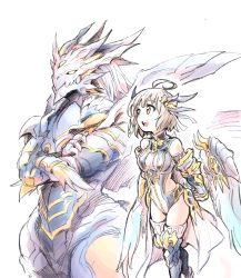 1girl ahoge armor blush brown_hair claws crossed_arms dragon dragon_girl dragon_horns feathered_wings gauntlets hair_ornament highres horns ishiyumi leotard long_hair navi_(p&d) open_mouth puzzle_&_dragons sherias_(p&d) sketch thighhighs third_eye turtleneck wings yellow_eyes