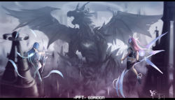 2girls bare_shoulders bow_(weapon) detached_sleeves dragon multiple_girls pixiv_fantasia pixiv_fantasia_t purple_hair scythe single_thighhigh thighhighs wangchuan_de_quanyan weapon