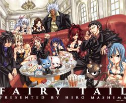 breasts cana_alberona charle_(fairy_tail) cleavage cup dress elfman_strauss erza_scarlet everyone fairy_tail formal gajeel_redfox gray_fullbuster happy_(fairy_tail) ice juvia_loxar large_breasts lucy_heartfilia mashima_hiro mirajane_strauss natsu_dragneel official_art pantherlily sleeveless sleeveless_dress suit sunglasses table tattoo tie wendy_marvell wine_glass