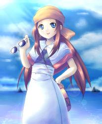 1girl bag blue_eyes brown_hair capelet fleura_(pokemon) kuri_youkan long_hair nintendo ocean pokemon pokemon_(anime) solo sunglasses