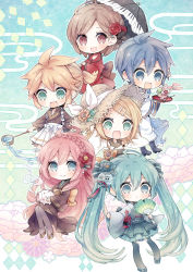 >:d 2boys 4girls :d ahoge aqua_hair aqua_skirt bangs black_legwear blonde_hair blue_boots blue_eyes blue_hair blush boots braid brother_and_sister brown_eyes brown_hair cherry chibi closed_mouth detached_sleeves flower food fruit green_eyes hair_between_eyes hair_flower hair_ornament hairclip hand_on_headwear hat hatsune_miku highres holding holding_fan holding_umbrella ice_cream kagamine_len kagamine_rin kaito long_hair long_sleeves looking_at_viewer megurine_luka meiko multiple_boys multiple_girls musical_note niwako obi open_mouth pantyhose parfait piano_print pink_hair pleated_skirt ponytail red_rose rose sailor_collar sandals sash shirt short_hair siblings skirt sleeves_past_wrists smile sparkle spoon sun_hat sunflower swept_bangs tasuki thighhighs tray treble_clef twins twintails umbrella very_long_hair vocaloid water whipped_cream white_shirt wide_sleeves wind_chime zettai_ryouiki