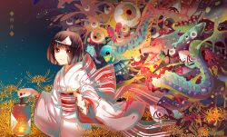 1girl artist_name black_hair body_writing bow bridal_gauntlets brown_hair copyright_name cowboy_shot dated eel eyeball flower frog from_side holding instockeee japanese_clothes jellyfish kimono lantern light_smile long_sleeves looking_at_viewer night night_sky nora_(noragami) noragami obi outdoors red_eyes sash short_hair sky small_breasts smile solo spider_lily striped triangular_headpiece