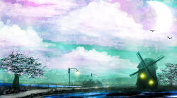 akyuun bird cloud cloudy_sky colorful grass highres landscape march no_humans original outdoors road scenery sky tree water windmill