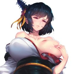 bacius bare_shoulders black_hair breasts collarbone covering covering_breasts frown hair_ornament japanese_clothes kantai_collection large_breasts obi off_shoulder one_breast_out red_eyes sash short_hair simple_background solo sweat white_background yamashiro_(kantai_collection)