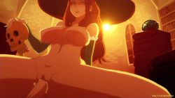 1girl animated animated_gif book book_stack bookshelf bouncing_breasts breasts breasts_apart brown_hair cum cum_in_pussy detached_sleeves disembodied_penis dragon's_crown hat hetero large_breasts lens_flare long_hair looking_at_viewer navel nipples nude penis pussy saltyicecream sex skull solo_focus sorceress_(dragon's_crown) staff uncensored vaginal witch_hat