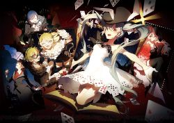 2boys 4girls animal_ears asymmetrical_clothes black_gloves black_hat black_legwear blonde_hair book brown_hair bunny_ears bunny_tail card cat_ears checkered cheshire_cat choker closed_mouth dress eyes_closed flower frilled_dress frills gloves half_mask hat hatsune_miku high_heels holding holding_flower holding_umbrella jumping kagamine_len kagamine_rin kaito legs_crossed long_sleeves looking_at_viewer megurine_luka meiko multiple_boys multiple_girls one_eye_closed open_book open_mouth picture_frame pink_hair project_diva_(series) project_diva_x red_eyes rella rose shorts smile tail thighhighs top_hat umbrella vocaloid white_dress white_gloves