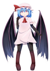1girl ascot bat_wings blue_hair boots bow haruto_(hirokazu1001) hat hat_bow highres large_wings pantyhose red_eyes remilia_scarlet solo touhou wings