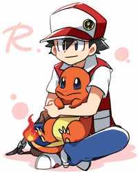 1boy baseball_cap black_hair blue_eyes brown_eyes charmander denim hat indian_style jeans pants pokemon pokemon_(game) pokemon_rgby red_(pokemon) red_(pokemon)_(classic) shoes simple_background sitting sitting_on_lap sitting_on_person smile sneakers white_background