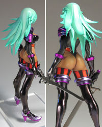 1girl ass breasts character_request dark_skin female figure gradient_background green_hair legs leotard long_hair photo sword weapon