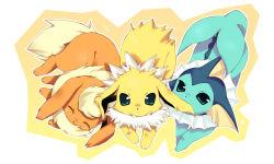 biting ear_biting enomoto_hina eyes_closed flareon green_eyes jolteon looking_at_viewer no_humans pokemon sleeping tail vaporeon