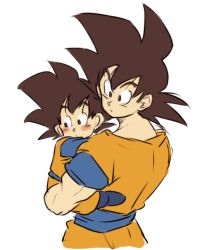 2boys black_eyes black_hair blush_stickers carrying child dougi dragon_ball dragonball_z eyebrows_visible_through_hair father_and_son looking_away male_focus multiple_boys serious simple_background son_gokuu son_goten spiked_hair tkgsize white_background