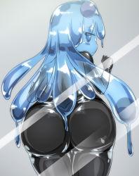 1girl against_glass against_screen ass ass_press blue_eyes blue_hair bodysuit goo_girl highres huge_ass latex latex_suit long_hair monster_girl naka original solo