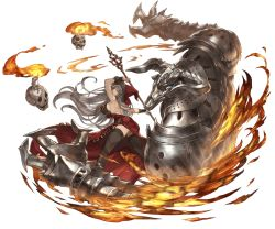 1girl ass back bare_back black_legwear black_shoes breasts candle dress fire from_behind full_body garter_straps granblue_fantasy hat high_heels holding large_breasts long_hair looking_back magisa_(granblue_fantasy) minaba_hideo official_art shoes sideboob silver_eyes silver_hair skull solo standing thighhighs transparent_background very_long_hair witch_hat