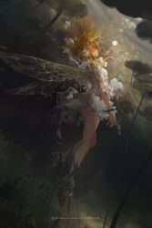 1girl 2017 antennae artist_name black_shoes blonde_hair closed_mouth commentary dress dutch_angle english eyes_closed fairy flower from_side full_body hair_flower hair_ornament high_heels highres insect_wings key light_particles lock long_hair mivit number original padlock plant profile shoes solo tail torn_wings underwater watermark white_dress wings wrist_cuffs