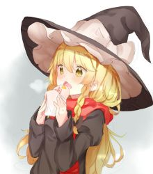 1girl alternate_costume blonde_hair bow braid breath food hair_bow hair_ornament hat hat_ribbon kirisame_marisa long_hair long_sleeves looking_down open_mouth puffy_sleeves ribbon scarf side_braid simple_background single_braid solo touhou winter_clothes witch_hat yellow_eyes yukizumi_remon