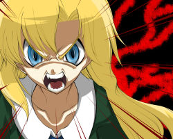 1girl bangs blonde_hair blue_eyes collarbone crazy_eyes higurashi_no_naku_koro_ni ib long_hair mary_(ib) parody payot shan_grila sharp_teeth solo style_parody uso_da