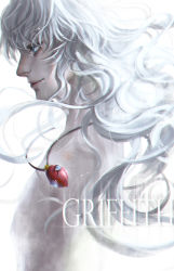 1boy behelit bermode berserk character_name english grey_eyes griffith lips long_hair nose nude silver_hair simple_background smile solo white_background