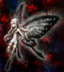 1girl aerie_(bravely_defualt) artist_request bravely_default:_flying_fairy butterfly_wings fairy female long_hair minigirl pointy_ears solo spoilers white_hair wings