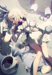 1girl blonde_hair blue_eyes candy cat cup hair_ornament hairband hairclip headphones headphones_around_neck holding kagamine_rin lollipop lying mug school_uniform scroll ser323 serafuku short_hair vocaloid