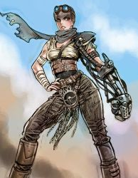 1girl belt black_hair black_scarf breasts brown_eyes cleavage contrapposto dirty_face goggles goggles_on_head hand_on_hip imperator_furiosa mad_max mad_max:_fury_road mechanical_arm medium_breasts scarf short_hair solo very_short_hair yamashita_shun'ya