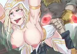 1girl ahegao areolae artist_name ashe_(league_of_legends) blonde_hair breasts clothed_sex cum cum_in_pussy green_eyes hood large_breasts league_of_legends long_hair nipples open_mouth pencil_skirt puffy_nipples sex skirt tongue tongue_out white_hair