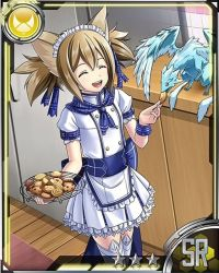 1girl animal_ears brown_hair card_(medium) cat_ears cat_tail cookie dutch_angle eating eyes_closed food hair_ribbon indoors maid_headdress open_mouth pina_(sao) pleated_skirt ribbon short_hair silica silica_(sao-alo) skirt solo star sword_art_online tail thighhighs white_legwear white_skirt