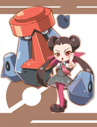 blush brown_hair chibi dress eyebrows forehead grey_dress gym_leader hair_ornament highres long_hair looking_at_viewer mary_janes necktie open_mouth pantyhose pink_eyes pink_legwear pointing pointing_at_viewer pokeball_symbol pokemon pokemon_(game) pokemon_oras probopass qixi_cui_xing shoes tsutsuji_(pokemon) twintails