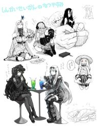 6+girls aircraft_carrier_water_oni bangs battleship_hime bonnet boots bra braid breasts butterfly claws cleavage collar commentary_request controller covered_mouth detached_sleeves dress drinking_straw eating food frilled_dress frilled_sleeves frills fruit game_console game_controller glass gloves gothic_lolita gufu6 hair_between_eyes hair_ornament hat headphones holding holding_food holding_spoon horn horns isolated_island_hime kantai_collection kneeling large_breasts legs_crossed lolita_fashion long_hair long_sleeves medium_breasts multiple_girls northern_ocean_hime off_shoulder oni_horns pantyhose parfait seaport_hime shinkaisei-kan short_hair sitting sleeveless sleeveless_dress soda_cup spoon strapless strapless_dress straw_hat supply_depot_hime sweatdrop sweater sweater_dress thighhighs translation_request underwear wariza watermelon wide_sleeves