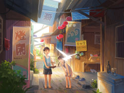 1boy 1girl 2016 :d :o alley animal bangs banner barefoot bird birdcage black_shorts blunt_bangs bottle box brown_eyes brown_hair cage cardboard_box child corrugated_galvanised_iron_sheet cup dated dove dress drinking_glass flip-flops flying full_body glowing hands_on_own_knees highres kitsu+3 leaning_forward long_hair mailbox mikan_box open_mouth original outdoors plant sandals sandals_removed shoes shoes_removed short_hair shorts signature sleeveless sleeveless_dress smile sneakers standing sundress tan tank_top town twintails wind_chime wooden_floor