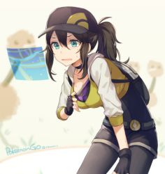 1girl baseball_cap belt black_gloves black_hair black_legwear blue_eyes blush breasts choker cleavage commentary_request copyright_name doduo female_protagonist_(pokemon_go) fingerless_gloves gloves hat holographic_interface hood hoodie leaning_forward legwear_under_shorts long_hair open_mouth pantyhose pokemon pokemon_go ponytail pulling resting shirt_pull shorts solo sweat twitter_username veryberry00