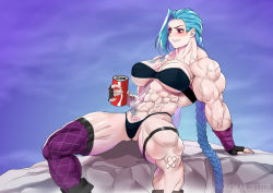 1girl abs bandage blue_hair braid breasts extreme_muscles female gao-lukchup jinx_(league_of_legends) league_of_legends long_hair muscle muscular_female solo thong twintails veins