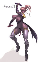 1girl anal_beads armor blush breasts dark_elf dildo elf female highres legs lineage lineage_2 nipples pointy_ears ponytail pubic_hair pussy rennes simple_background solo uncensored