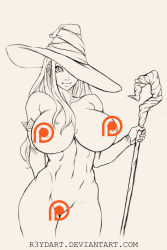 1girl breasts censored dragon's_crown female hat highres huge_breasts long_hair nude patreon r3ydart smile sorceress sorceress_(dragon's_crown) very_long_hair wand witch witch_hat