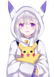 /\/\/\ 1girl :3 :d absurdres animal_hood arm_up bangs black_eyes blush buttons carrying crossover elf emilia_(re:zero) eyebrows eyebrows_visible_through_hair hair_ornament hairclip highres hood hug hug_from_behind long_hair long_sleeves looking_at_viewer open_mouth outstretched_arm pikachu pointy_ears pokemon pokemon_(creature) pokemon_(game) purple_eyes re:zero_kara_hajimeru_isekai_seikatsu silver_hair simple_background sll smile trait_connection upper_body white_background white_hair wide_sleeves