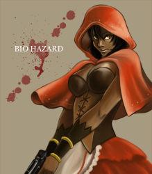 1girl breasts capcom cleavage gun hood little_red_riding_hood_(cosplay) resident_evil resident_evil_5 sheva_alomar