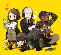 1girl 3boys 50yen arm_up bandanna bangs baseball_cap big_boss binoculars bird black_boots black_eyes black_gloves black_hat black_legwear black_necktie black_shoes blue_eyes blush boots brown_eyes brown_hair brown_pants brown_skirt buttons camouflage camouflage_pants collared_shirt cross-laced_footwear cup dark_skin drill duck eating eyepatch eyes_closed facial_hair food food_in_mouth food_on_face frog full_body gloves hat headband headset heart heart-shaped_pupils holding holding_cup holding_food indian_style jacket kneeling lace-up_boots legs_crossed long_sleeves lying major_zero metal_gear_(series) metal_gear_solid metal_gear_solid_3 motion_lines mouth_hold multiple_boys mustache necktie on_back one_eye_closed open_mouth pants para-medic_(mgs3) partly_fingerless_gloves saucer scar scar_across_eye shadow shirt shoes short_hair sigint simple_background sitting sitting_on_person skirt sleeveless sleeves_rolled_up smile smoke standing swept_bangs symbol-shaped_pupils tea teacup uniform very_dark_skin white_hair white_shirt yellow_background zipper