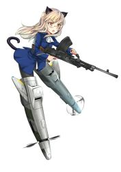 1girl amefre animal_ears ascot black_legwear blonde_hair blue_jacket bren_lmg cat_ears cat_tail flying full_body glasses gun holding holding_weapon jacket long_hair looking_to_the_side machine_gun military military_uniform no_pants open_mouth pantyhose perrine_h_clostermann simple_background solo strike_witches striker_unit tail uniform weapon white_background world_witches_series yellow_eyes