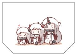 >_< 0_0 3girls :3 airfield_hime blush_stickers c: chibi claws dress eyes_closed highres horn horns kantai_collection multiple_girls northern_ocean_hime nuu_(nu-nyu) seaport_hime shinkaisei-kan smile white_dress white_hair |_|